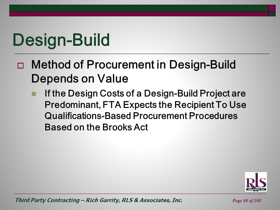 Design-Build Method of Procurement in Design-Build Depends on Value