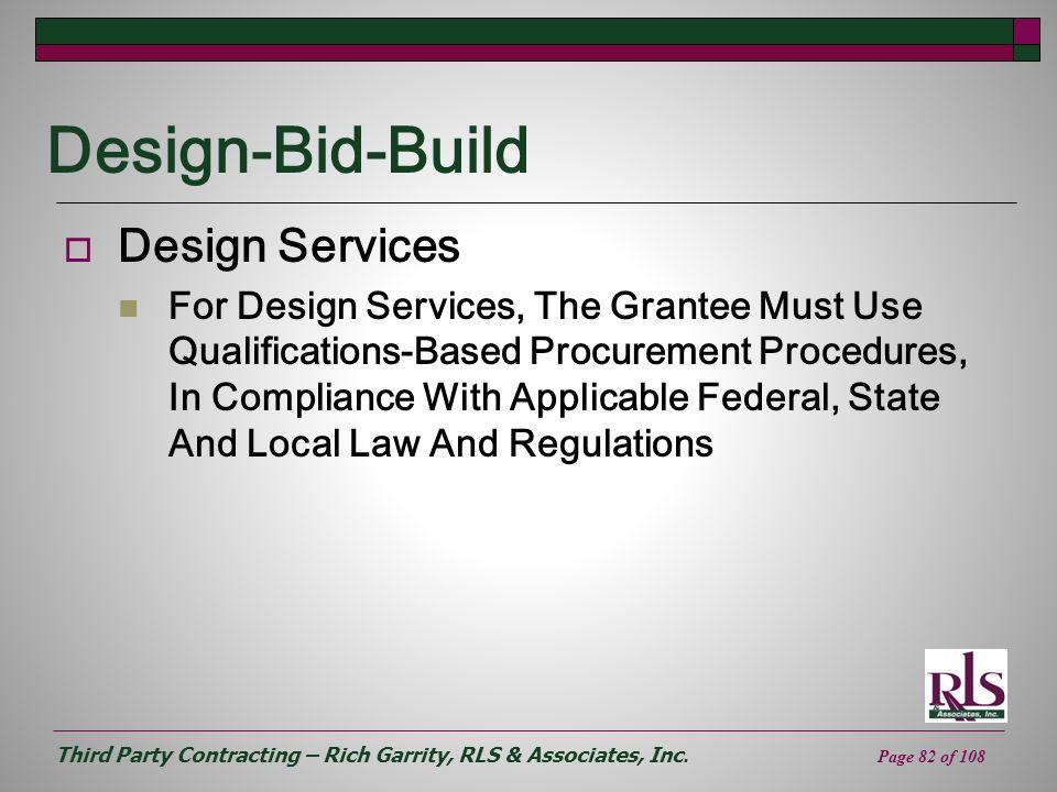 Design-Bid-Build Design Services