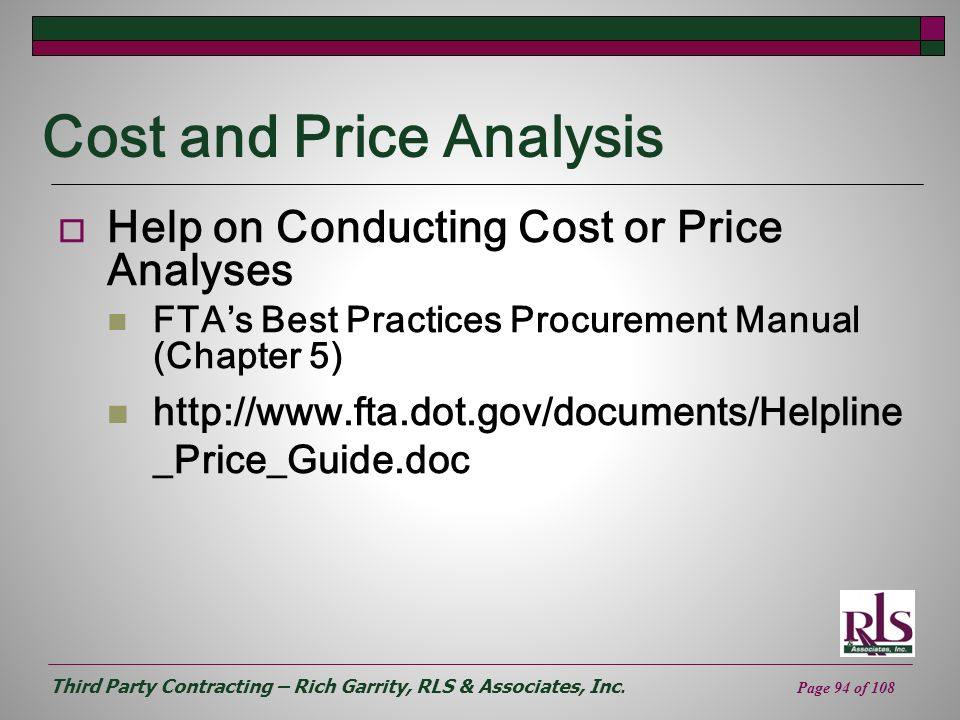 Cost and Price Analysis