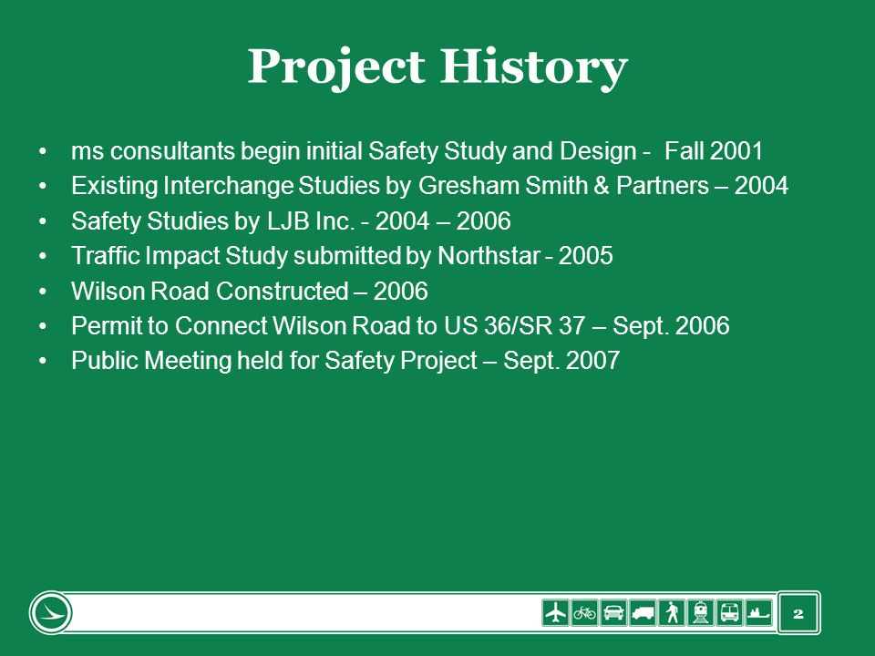 Project History ms consultants begin initial Safety Study and Design - Fall 2001. Existing Interchange Studies by Gresham Smith & Partners – 2004.