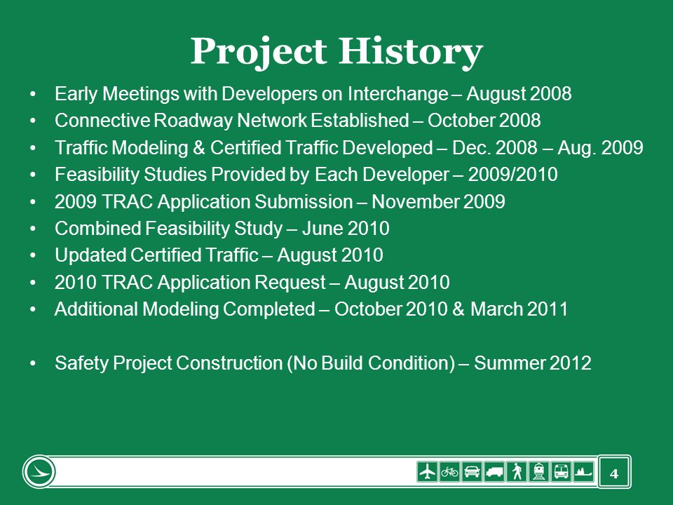 Project History Early Meetings with Developers on Interchange – August 2008. Connective Roadway Network Established – October 2008.
