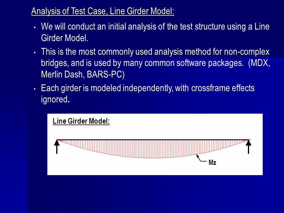 Analysis of Test Case, Line Girder Model:
