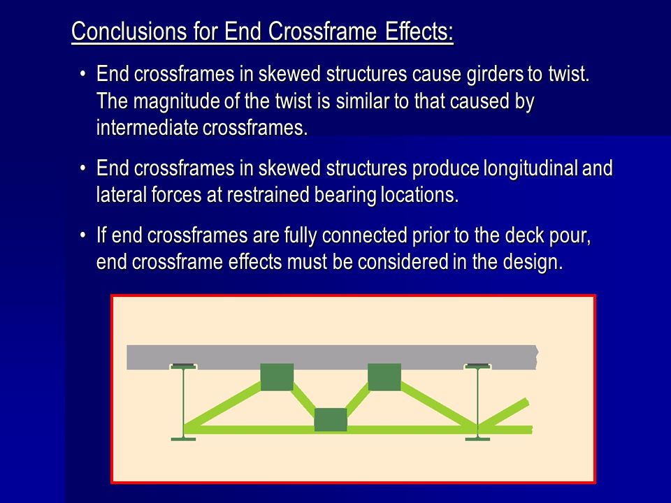 Conclusions for End Crossframe Effects: