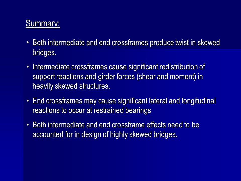 Summary: Both intermediate and end crossframes produce twist in skewed bridges.