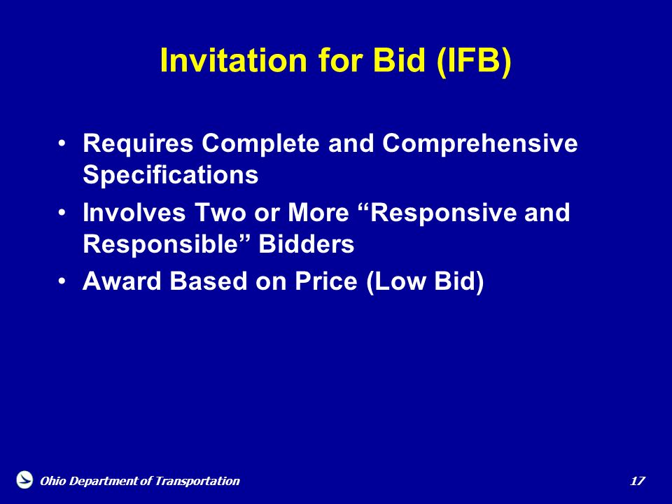 Invitation for Bid (IFB)