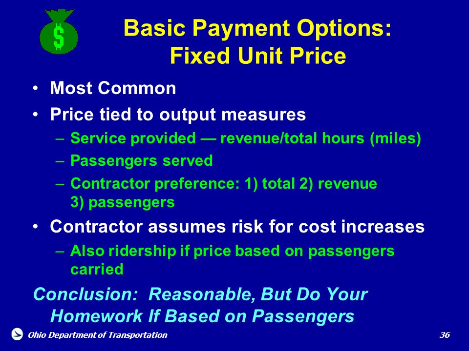 Basic Payment Options: Fixed Unit Price