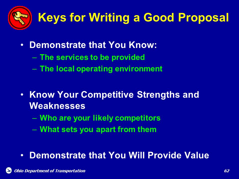 Keys for Writing a Good Proposal