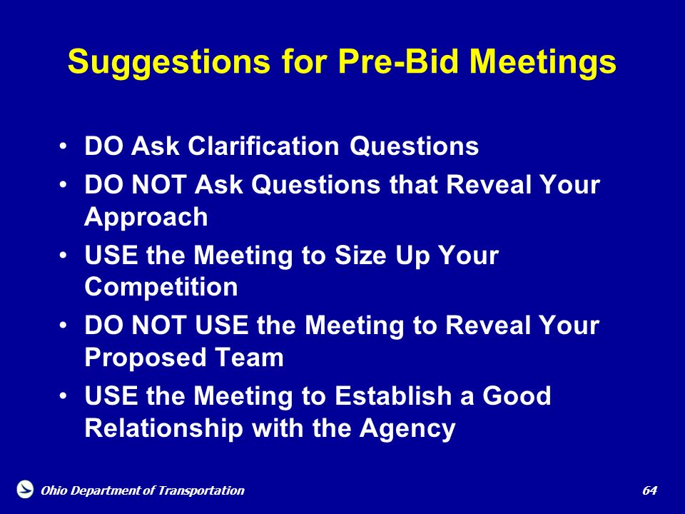 Suggestions for Pre-Bid Meetings