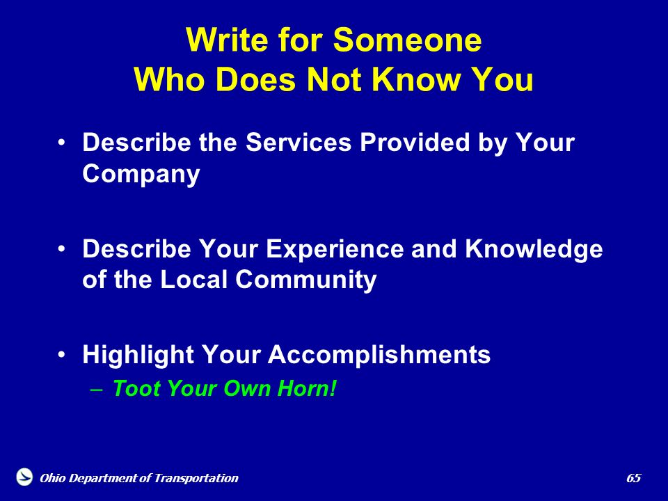 Write for Someone Who Does Not Know You