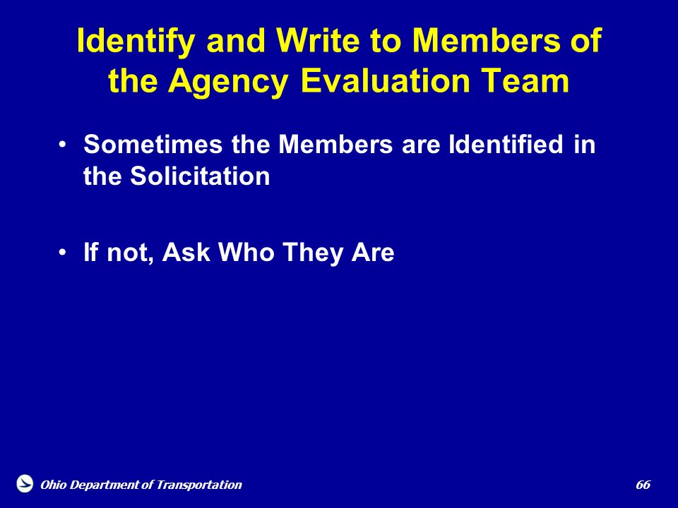 Identify and Write to Members of the Agency Evaluation Team
