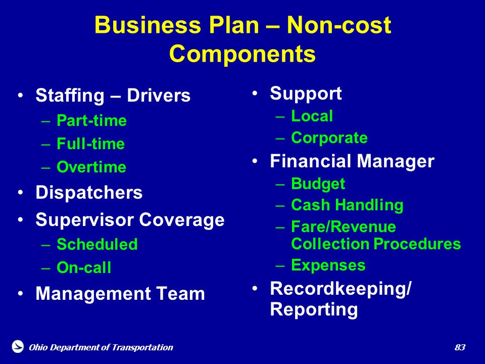 Business Plan – Non-cost Components