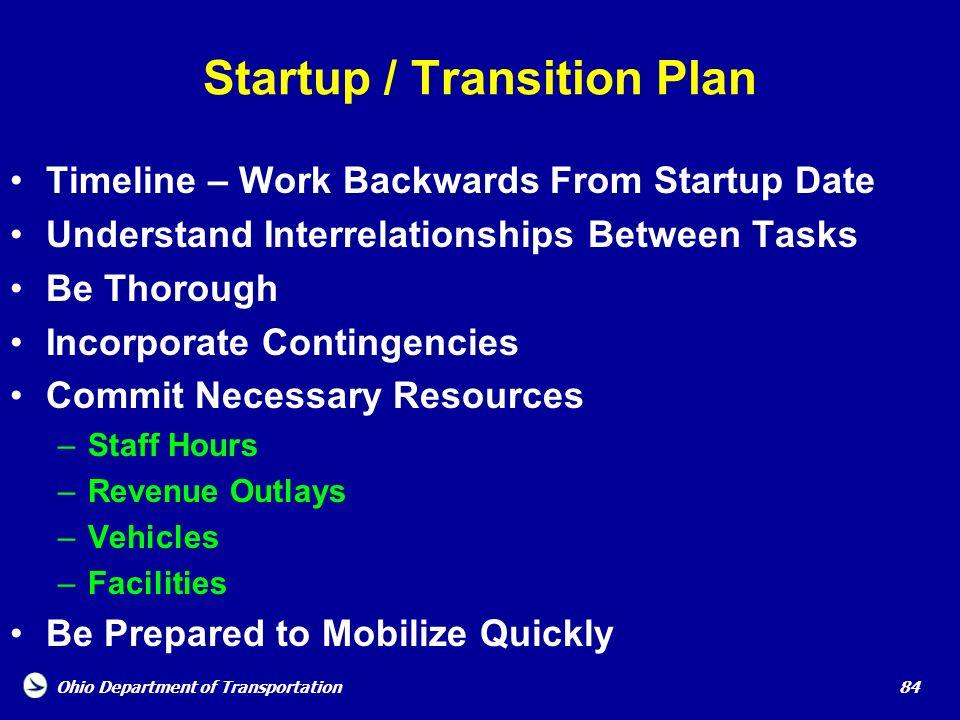 Startup / Transition Plan