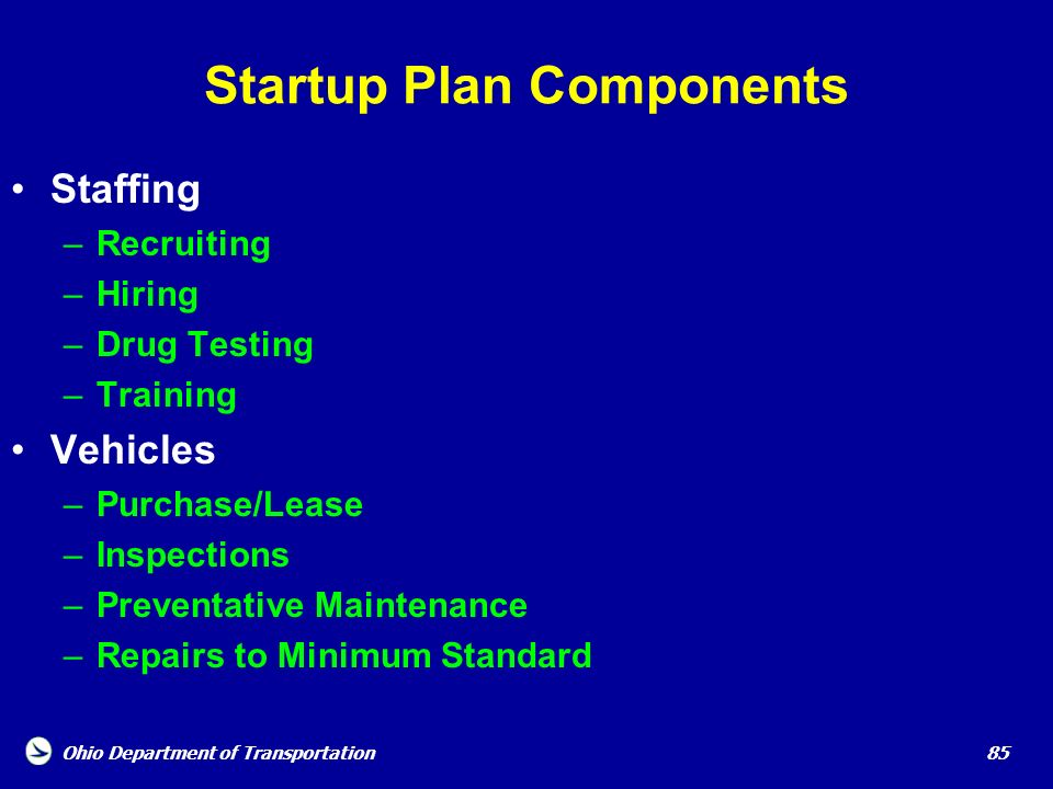 Startup Plan Components