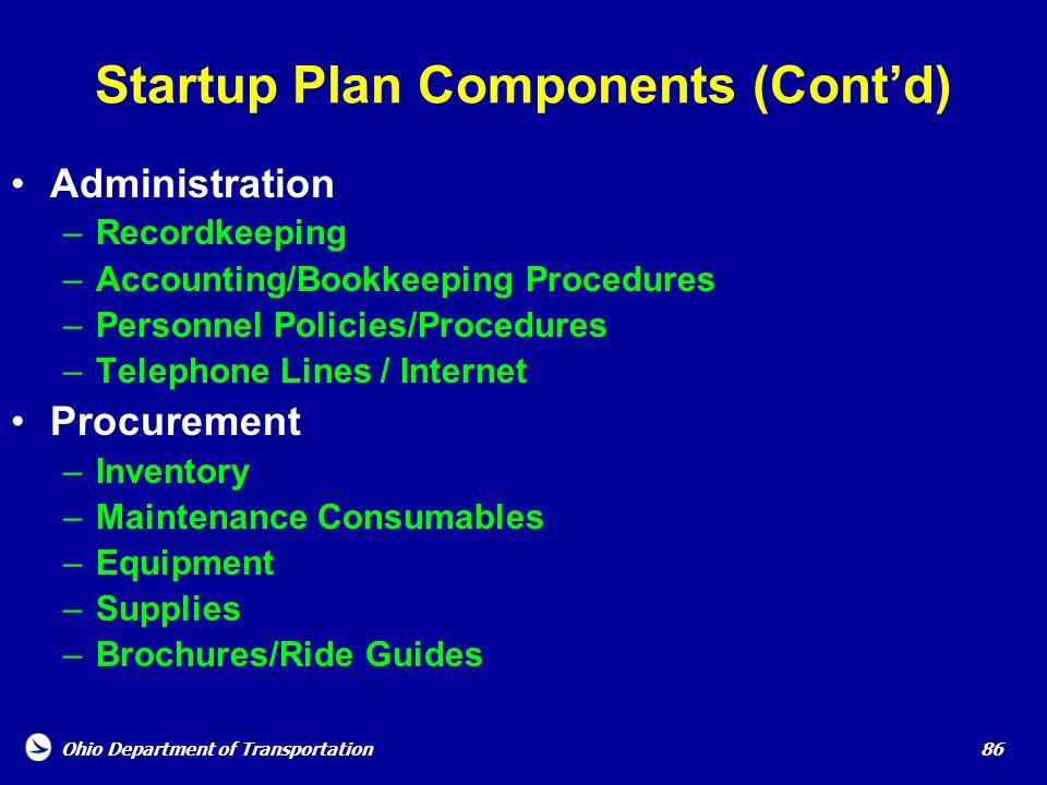 Startup Plan Components (Cont'd)