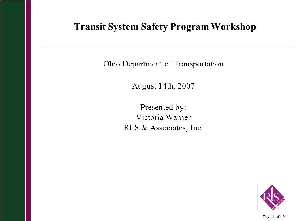 Transit System Safety Program Workshop