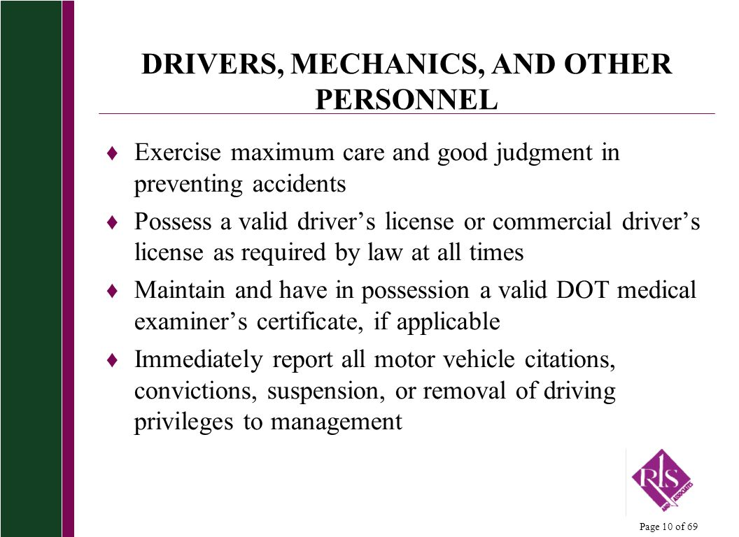 DRIVERS, MECHANICS, AND OTHER PERSONNEL