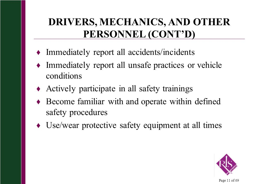 DRIVERS, MECHANICS, AND OTHER PERSONNEL (CONT'D)