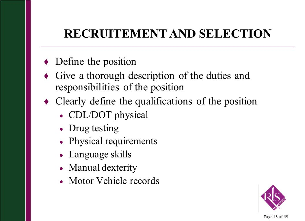RECRUITEMENT AND SELECTION