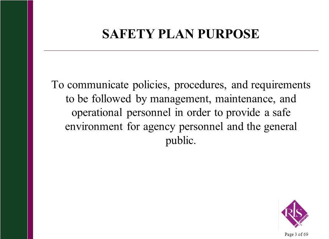 SAFETY PLAN PURPOSE