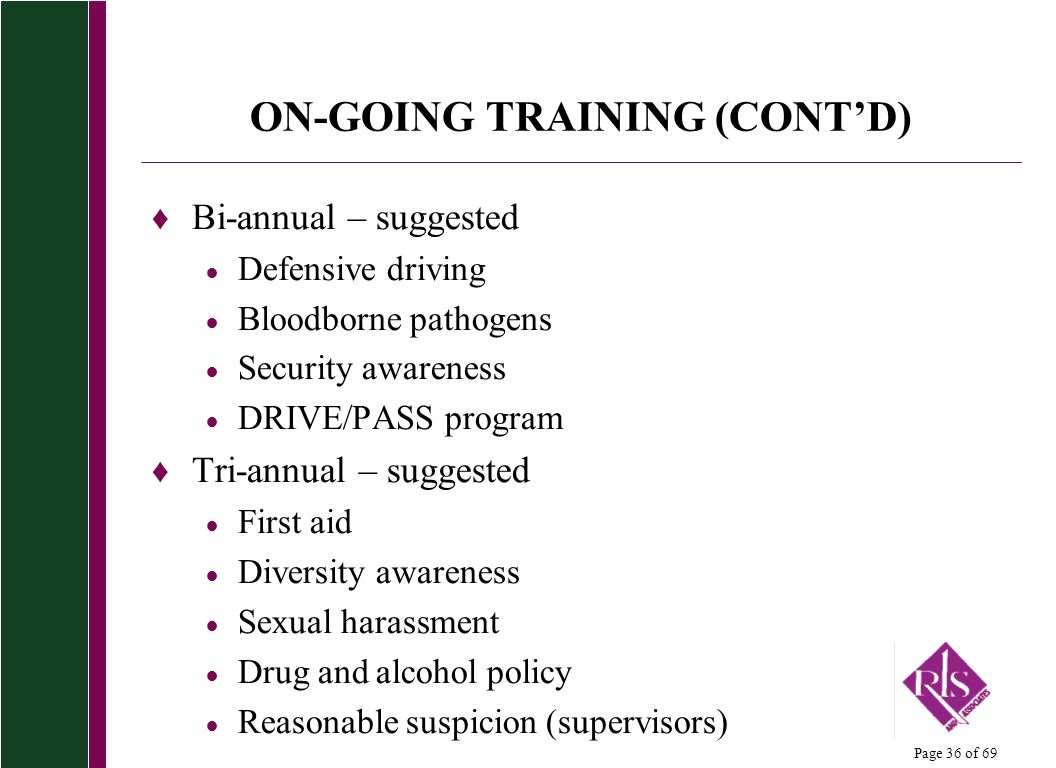 ON-GOING TRAINING (CONT'D)
