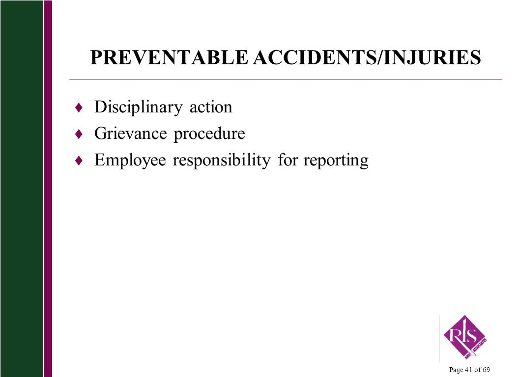 PREVENTABLE ACCIDENTS/INJURIES