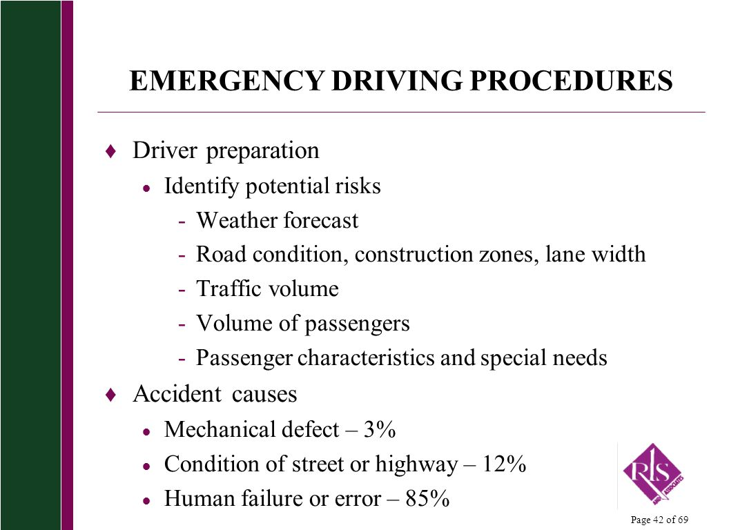 emergency driving and its procedures Your insurance company and the other driver's insurance company  click on for  some common-sense tactics to build an emergency fund,.