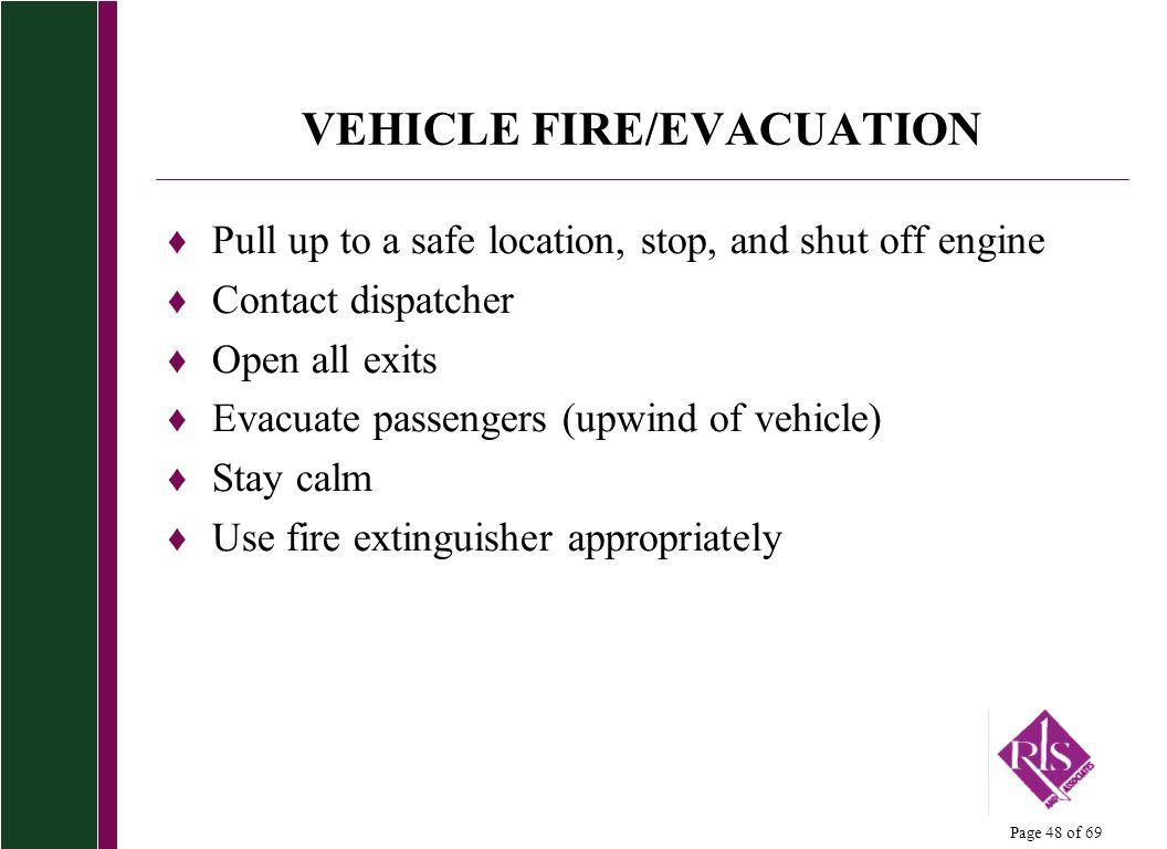 VEHICLE FIRE/EVACUATION