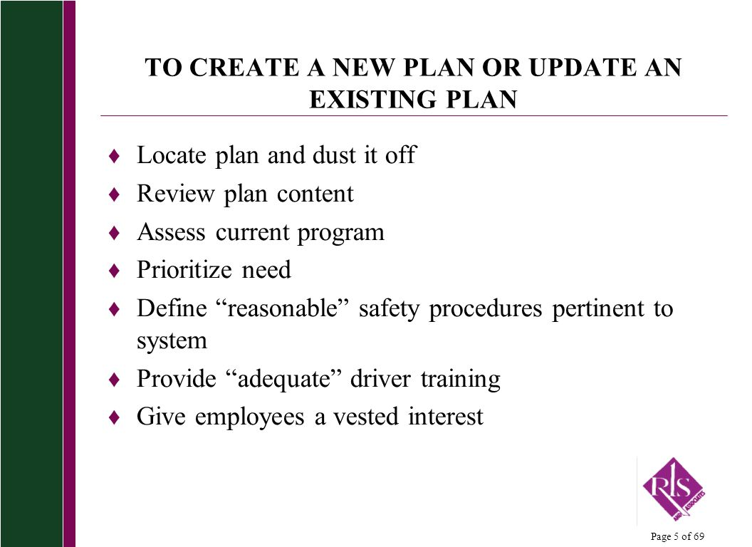 TO CREATE A NEW PLAN OR UPDATE AN EXISTING PLAN