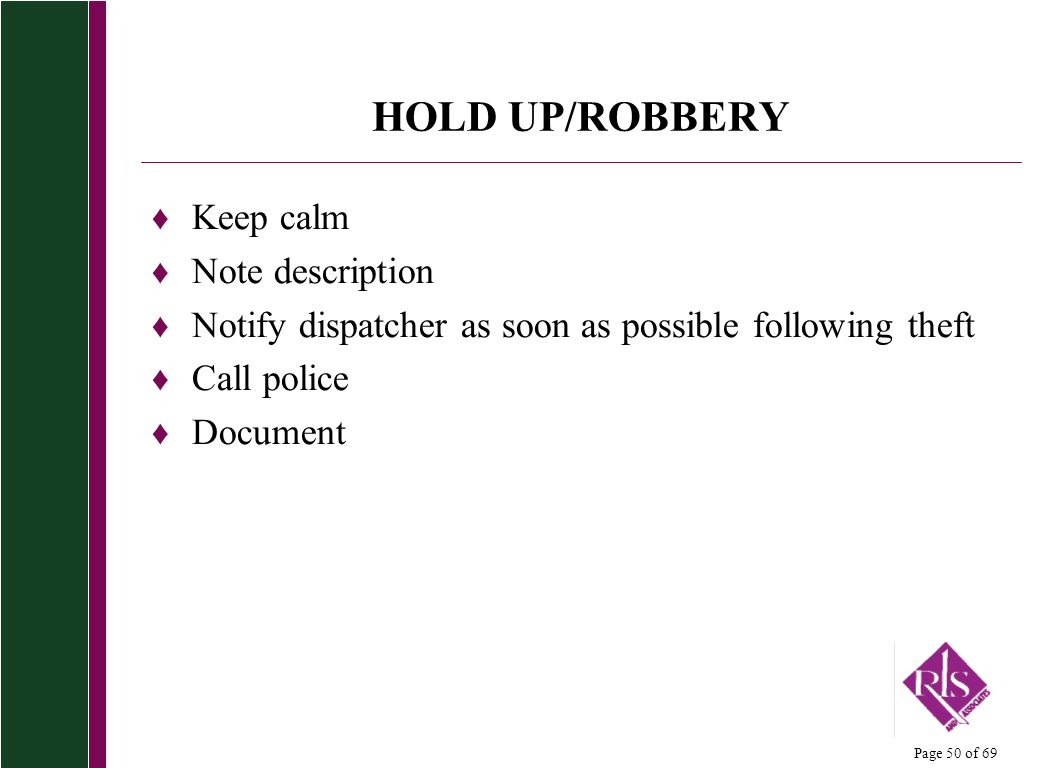 HOLD UP/ROBBERY Keep calm Note description
