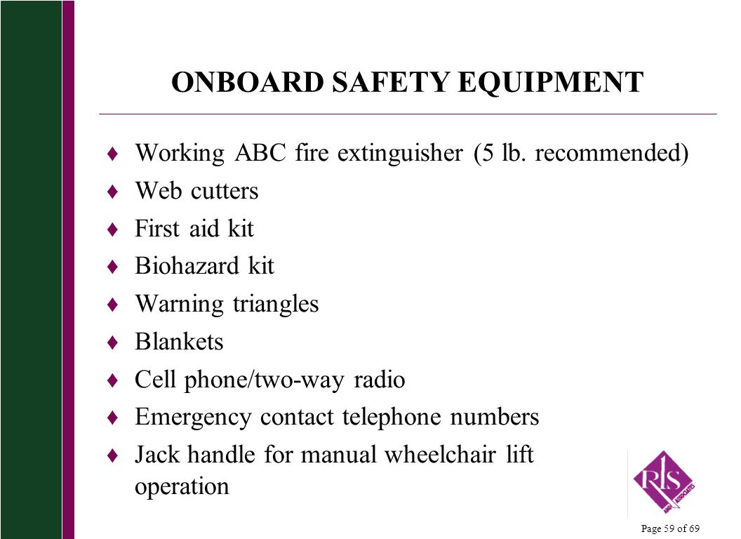 ONBOARD SAFETY EQUIPMENT