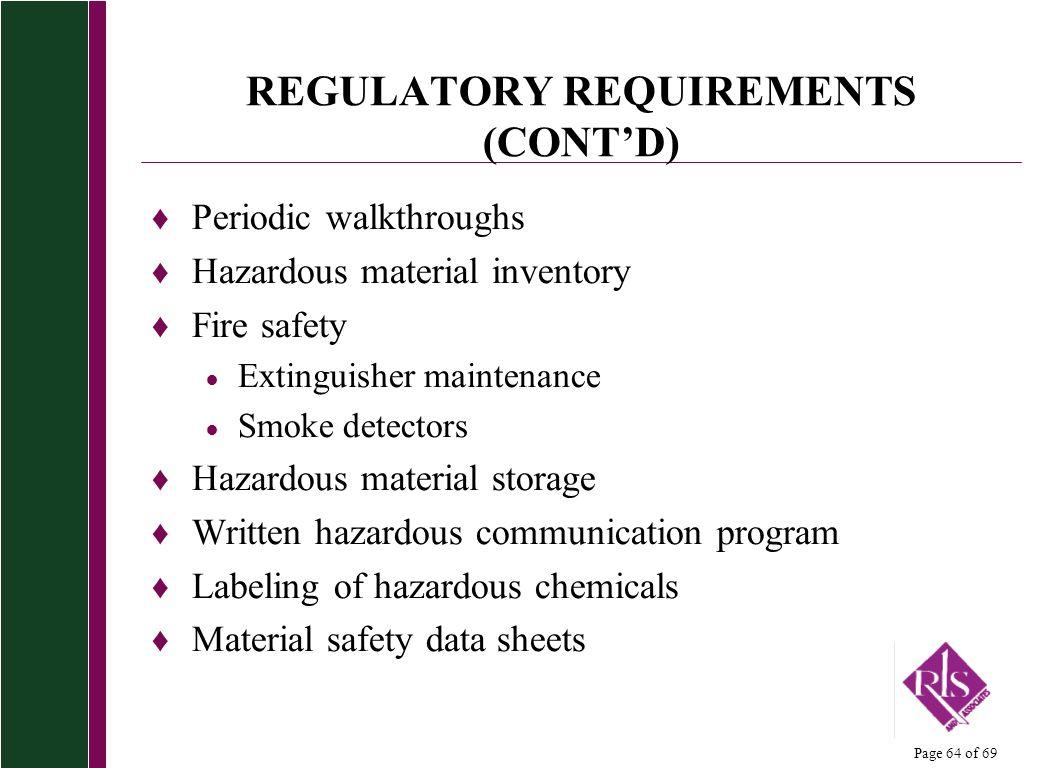 REGULATORY REQUIREMENTS (CONT'D)