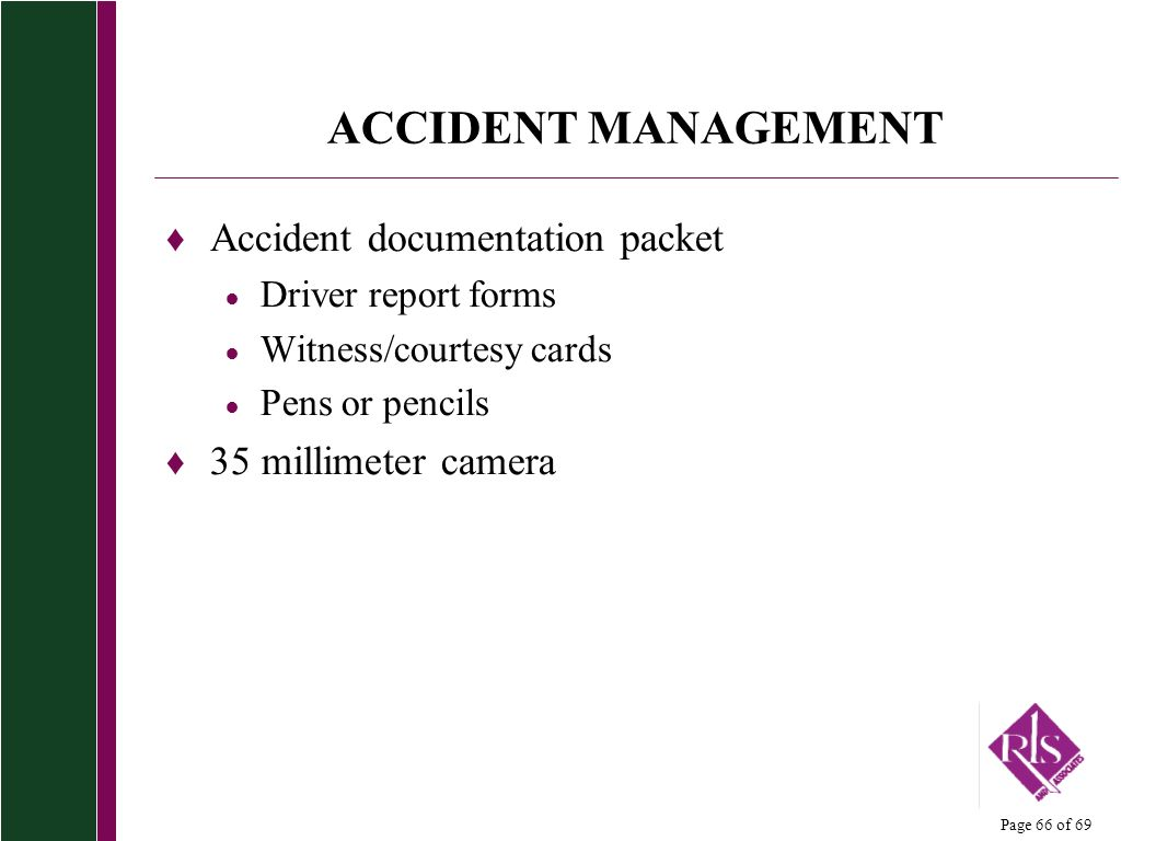 ACCIDENT MANAGEMENT Accident documentation packet 35 millimeter camera