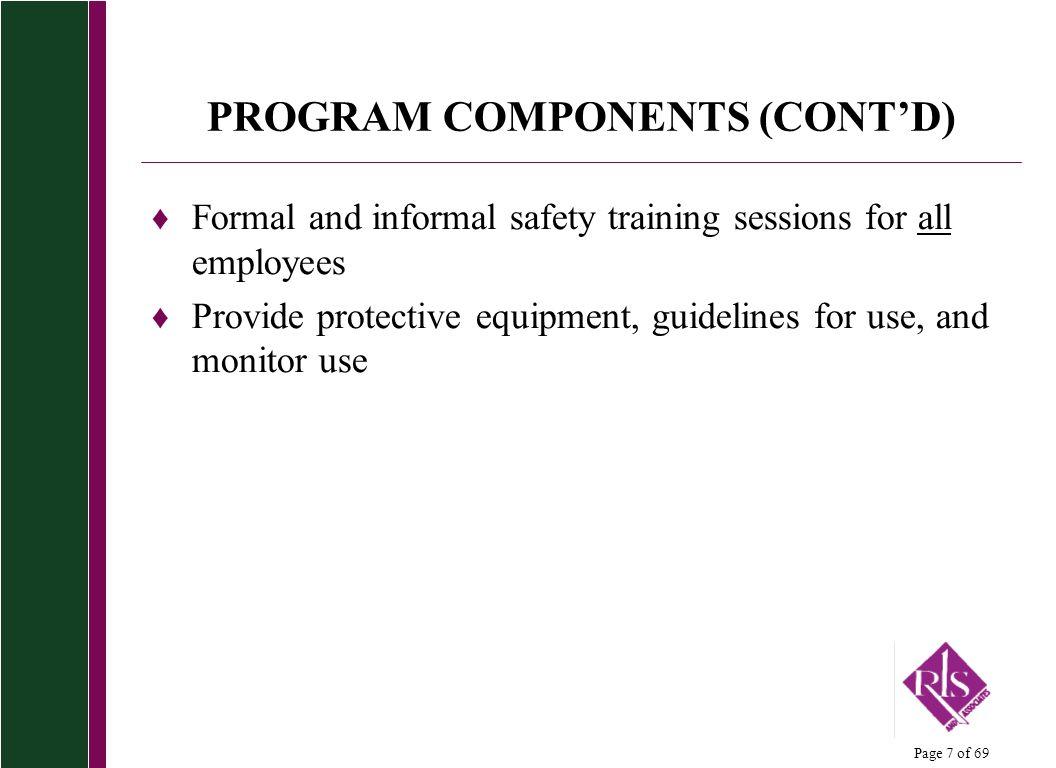 PROGRAM COMPONENTS (CONT'D)