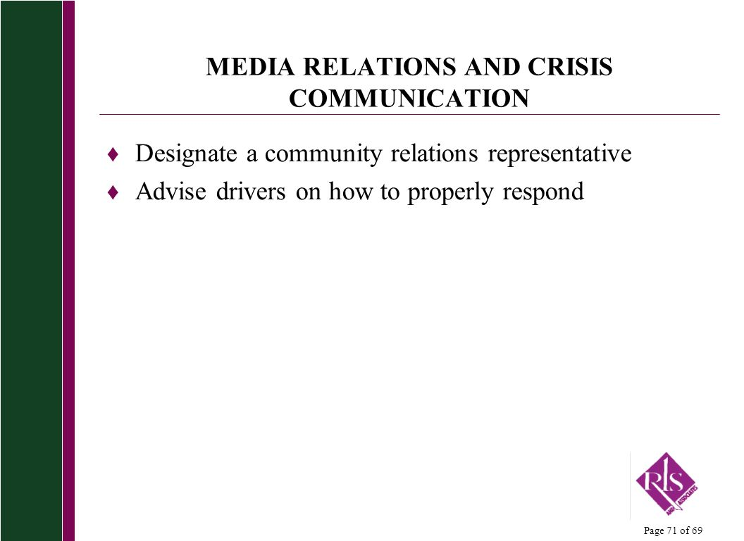 MEDIA RELATIONS AND CRISIS COMMUNICATION