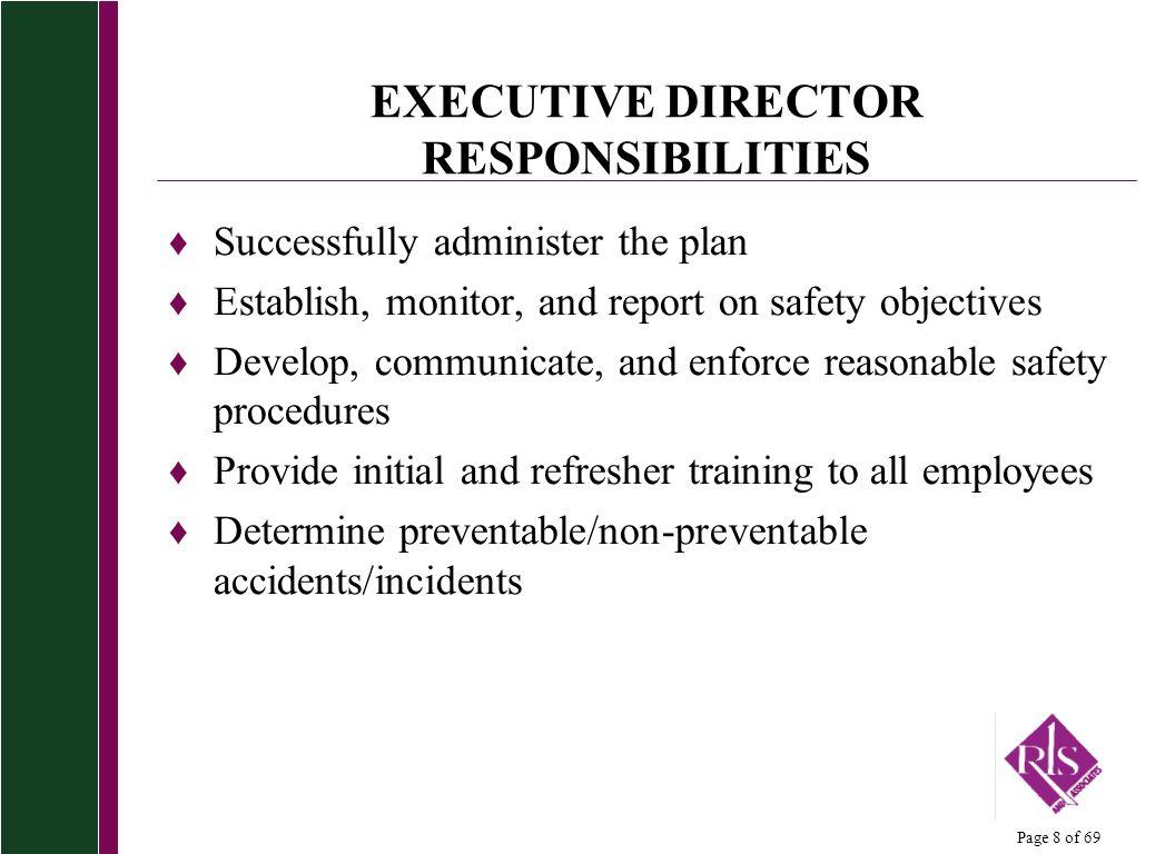 EXECUTIVE DIRECTOR RESPONSIBILITIES