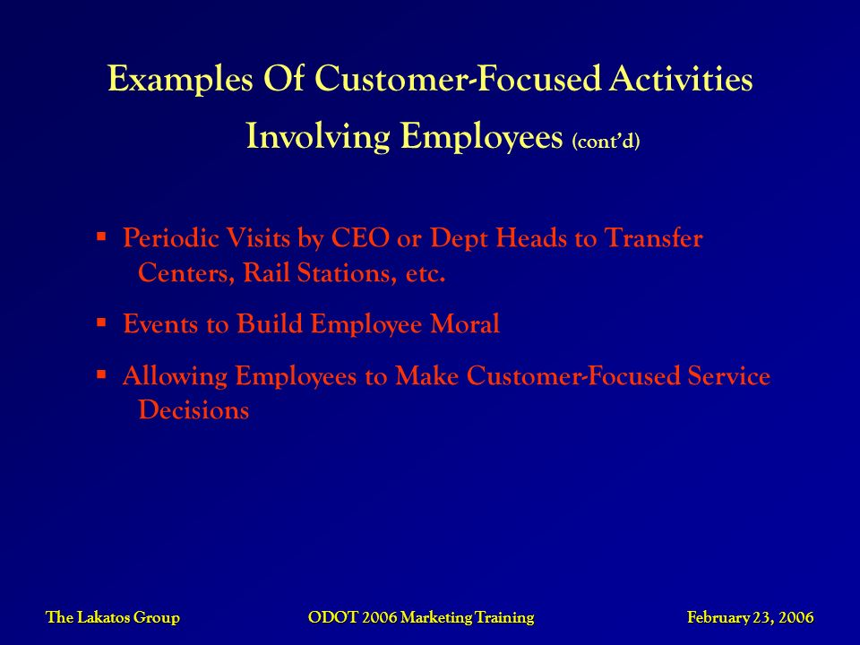 Examples Of Customer-Focused Activities