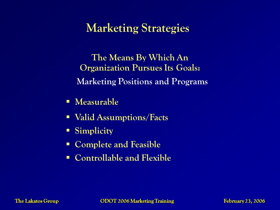 Marketing StrategiesThe Means By Which An Organization Pursues Its Goals: Marketing Positions and Programs.