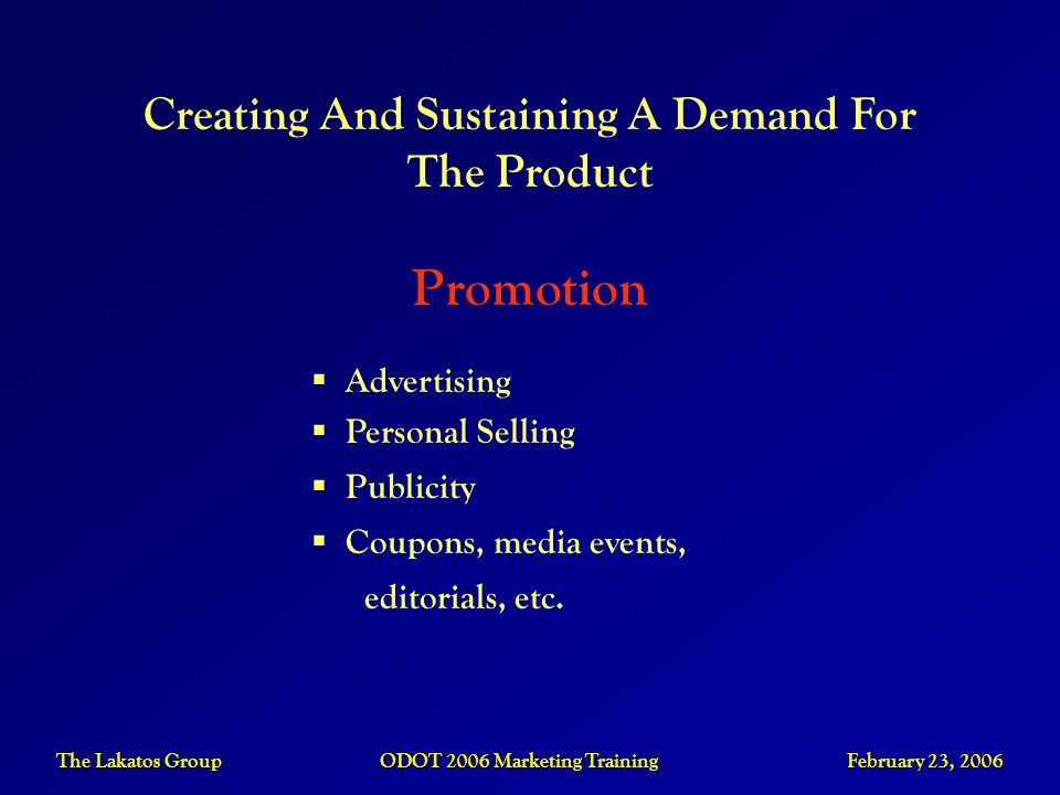 Promotion Creating And Sustaining A Demand For The Product Advertising
