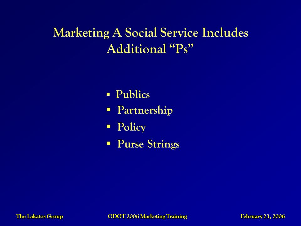 Marketing A Social Service Includes Additional Ps
