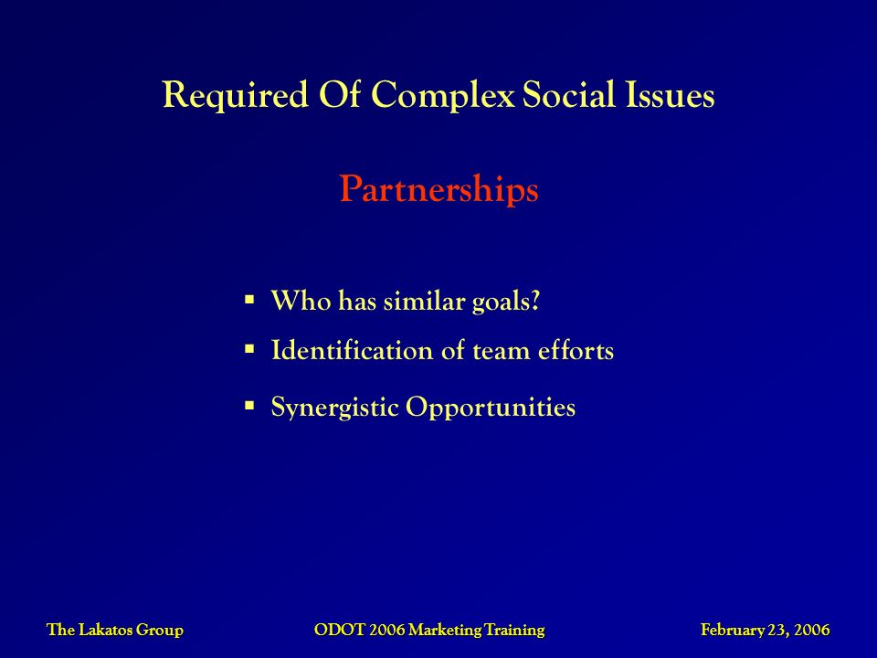 Required Of Complex Social Issues Partnerships