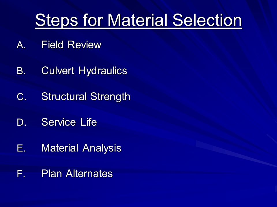 Steps for Material Selection