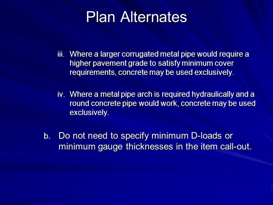 Plan Alternates