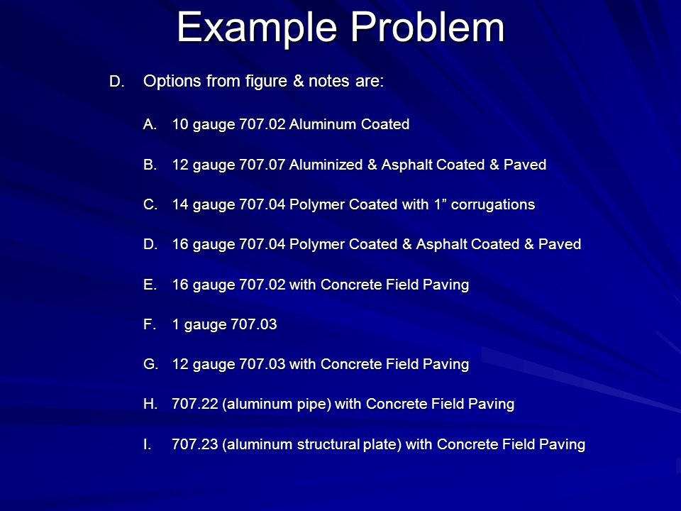 Example Problem Options from figure & notes are: