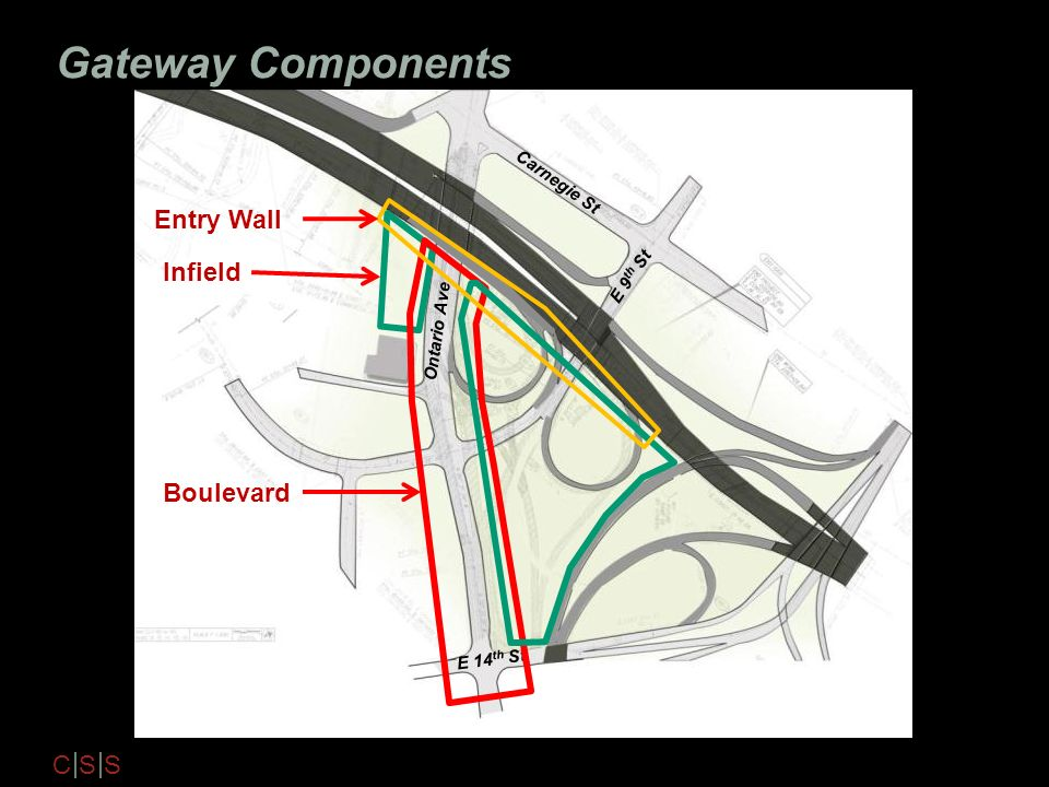 Gateway Components Entry Wall Infield Boulevard Carnegie St E 9th St