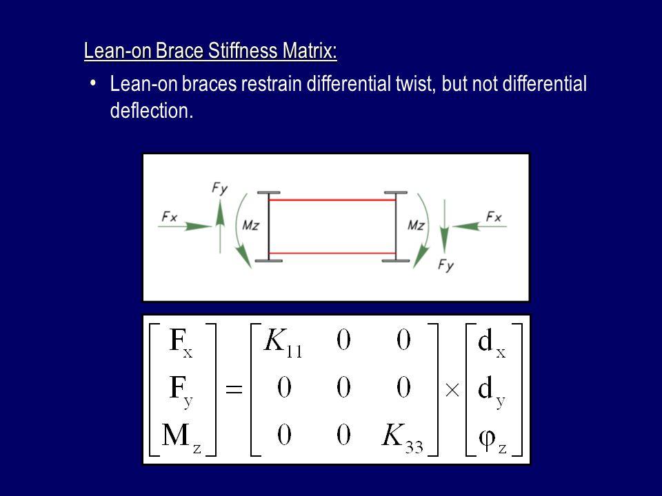 Lean-on Brace Stiffness Matrix: