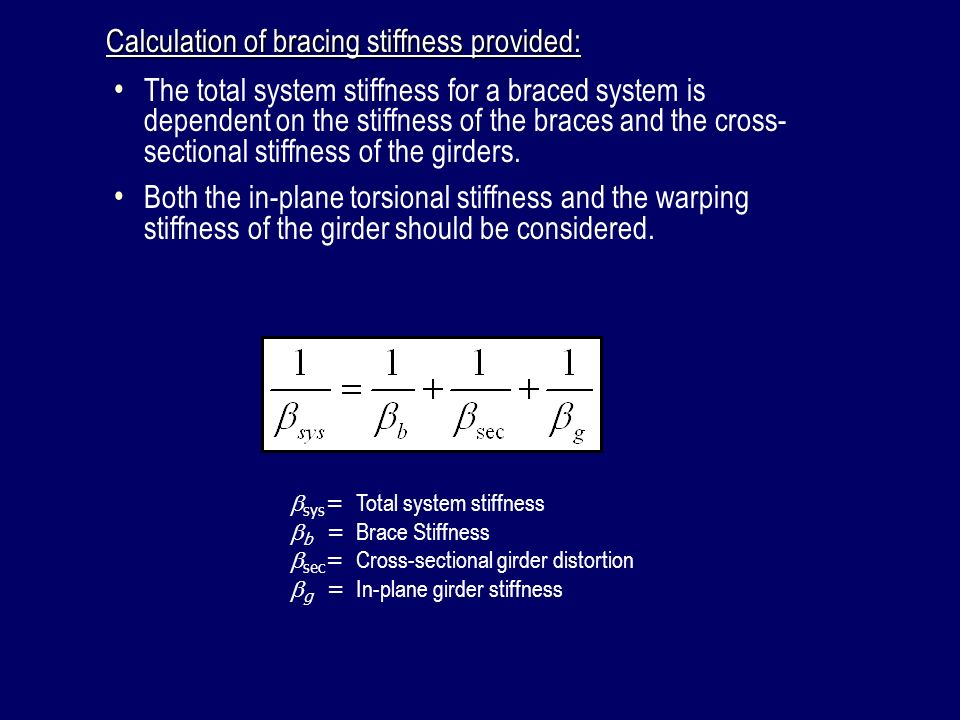 Calculation of bracing stiffness provided:
