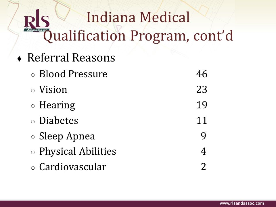 Indiana Medical Qualification Program, cont'd