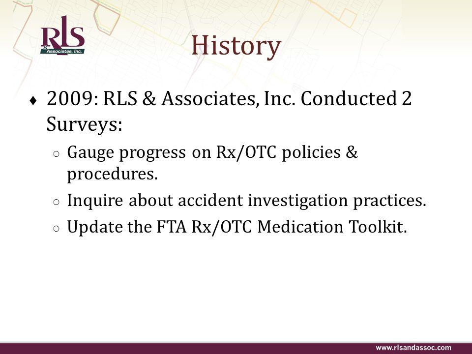 History 2009: RLS & Associates, Inc. Conducted 2 Surveys: