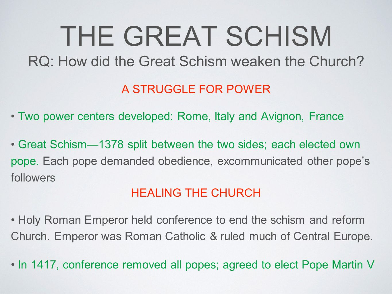 the great schism of the catholic Western schism, also called great schism or great western schism, in the history of the roman catholic church, the period from 1378 to 1417, when there were two, and later three, rival popes, each with his own following, his own sacred college of cardinals, and his own administrative offices.