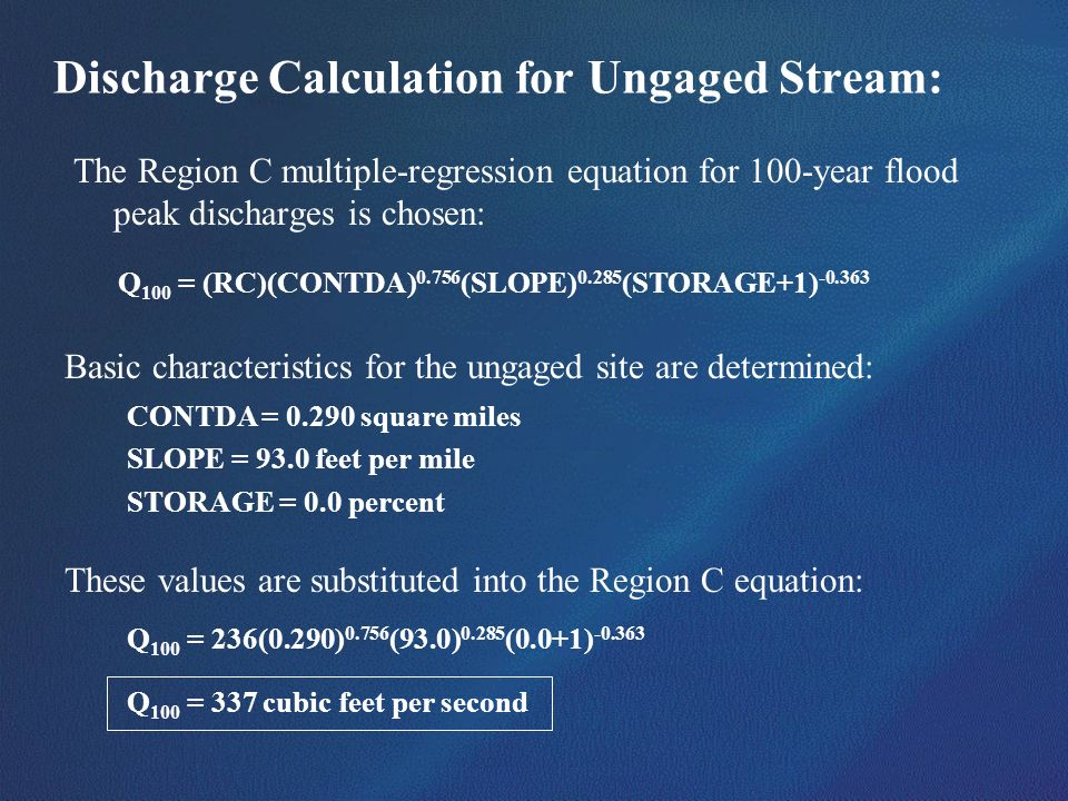 Discharge Calculation for Ungaged Stream: